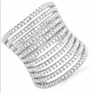 Jewelry - CZ Wide Multi Row Band Ring - Rhodium Plated Sz 8